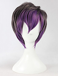 Cool Girl Gray and Purple Color 35cm Gothic Lolita Short Wig