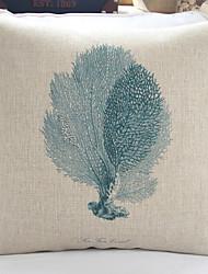 "18"" Sea Life Green Fan Coral Cotton/Linen Decorative Pillow Cover"