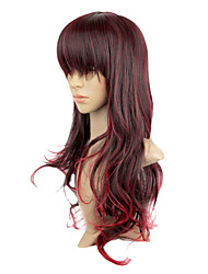 Capless Synthetic Dark Copper Red Color Long Curly Party Wig