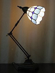 Grid Pattern Swing Arm Table Lamp, 1 Light, Tiffany Iron Glass Painting