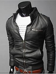 ZJ.SM Men's bodycon stand neck casual solid color coat