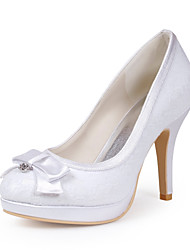 Women's Spring Fall Winter Satin Stretch Satin Wedding Stiletto Heel Buckle Ivory Ivory Black White Red