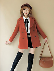 Women's Coat,Solid Long Sleeve Winter Red / Brown Wool Thick