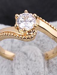 Chapeamento de ouro Zircon Anel J27070 das KU NIU Mulheres