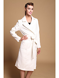 Women's Coat,Solid Long Sleeve Winter White Wool / Others Medium