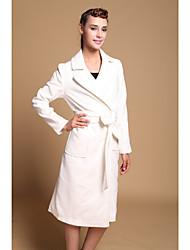 Women's White Coat , Casual Long Sleeve Wool Blends