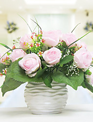 "12""White Pink Roses Arrangemen With White Ceramic Vase"