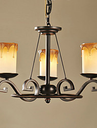 Chandelier, 3 Light, American-Style Classic Iron Painting Process