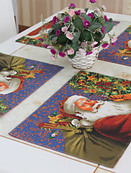 """Christmas Santa Placemats Set of 6, Polyester, 12""""*18"""" 1pc"""