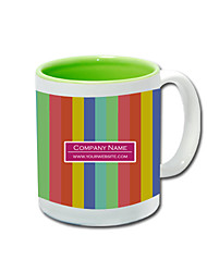 Personalized Rainbow Pattern Green Mugs