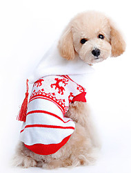 Dog Sweater / Hoodie Red Dog Clothes Winter Reindeer Holiday / Christmas
