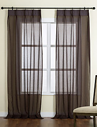 (Two Panels) Concise Solid Polyester Sheer Curtain