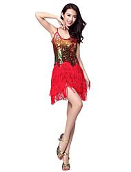 Robe de danse latine Vêtements en polyester avec des paillettes pour les dames (Plus de couleurs)