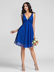 Knee-length Chiffon Bridesmaid Dress - Royal Blue Plus Sizes / Petite A-line V-neck