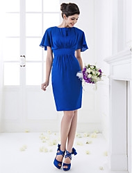Knee-length Chiffon Bridesmaid Dress - Royal Blue Plus Sizes / Petite Sheath/Column Jewel