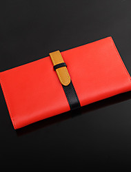 8th PINK Women's Cowhide Orange Color Contrast Leisure Wallet