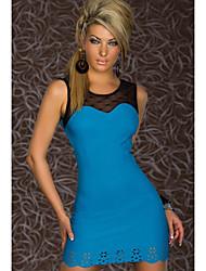 Querido ropa para señora atractiva azul de encaje Hem Fit corto vestido