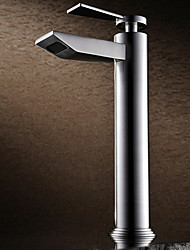 Contemporary Nickel Brushed Finish Single Handle Tall Bathroom Sink Faucets