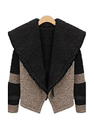 Mic Input Elegant Long Sleeve Tweed Coat(Black)