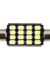 42mm 16 1210 SMD LED Canbus White Car Interior Dome Festoon Light Lamp Bulb