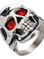 (1pc) Fashion Man'S Stainless Steel Rhinestone Statement Ring