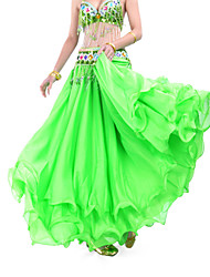 Belly Dance Skirts Women's Training Chiffon Draped Tiers 1 Piece Natural Skirt