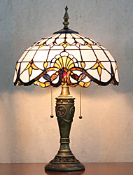 Table Lamp, 2 Light, Tiffany Elegant Resin Glass Painting