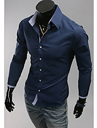 MELD Men's Dark Blue Pure Color Single Breasted Shirt