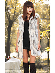 Fur Vest With Sleeveless Hooded Rabbit Fut Party/Casual Vest