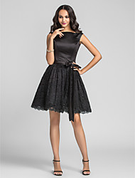 Homecoming Knee-length Charmeuse/Lace Bridesmaid Dress - Black Plus Sizes A-line/Princess Bateau