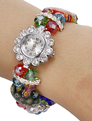 Women's Diamante Flower Pattern Colorful Crystal Band Quartz Analog Bracelet Watch Cool Watches Unique Watches
