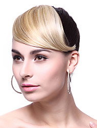 Platinum Blonde Sweet Lady Girls Oblique Bangs Fringe Wigs