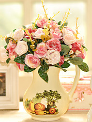 "12.5""Two Color Roses Arrangement With Classic Painting Style Ceramic Vase"