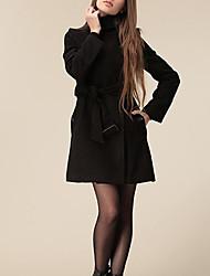 Aesir Solid Color Slim Tweed Mantel (Black)