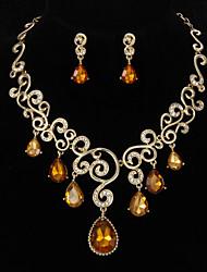 Alliage fascinant avec strass Set Jewely y compris le collier, boucles d'oreilles