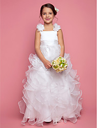 A-line Princess Floor-length Flower Girl Dress - Organza Satin Straps with Flower(s) Sash / Ribbon Cascading Ruffles Ruching