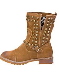 Leder Low Heel Ankle Boots Kampf