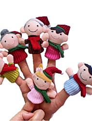 6PCS Natal membro da família de pelúcia Finger Puppets crianças falam Prop
