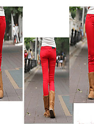 Women's Black/Blue/Brown/Green/Purple/Red Skinny Pants , Casual