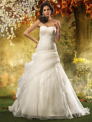 Lanting A-line Plus Sizes Wedding Dress - Ivory Sweep/Brush Train Sweetheart Organza