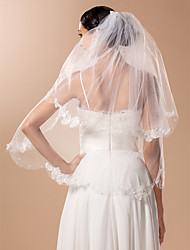Two-tier Elbow Wedding Veil With Applique And Bead