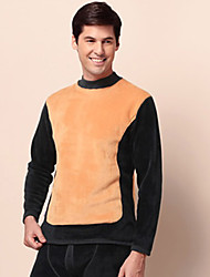 Mannen High Neck Warme Fleece Double Sides Thermisch Ondergoed