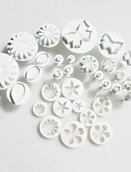 10 комплектов (33 шт) торт резак с поршня, звезда / бабочки / цветочным узором