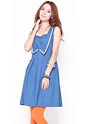 Color del caramelo del vestido plisado azul de unifo Mostrar Mujeres