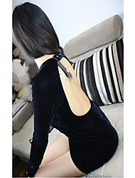 Fashiongirl Damen Low Cut Backless Hip Pack Blue Dress