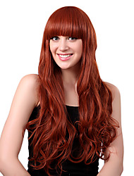 Capless Long High Quality Synthetic Auburn Red Wavy Hair Wigs Full Bang
