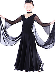 Ballroom Dance Dresses Children's Tulle / Viscose Black Modern Dance / Performance Spring, Fall, Winter, Summer Long Sleeve