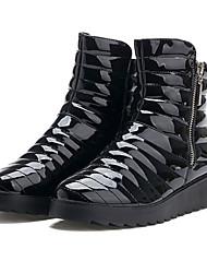 TASHA Women's Black Patent Leather Zipper Warm Short Boots