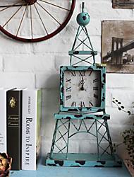 "24""Antique Type European Style Eiffel Tower Metal Tabletop Clock"