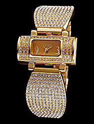 Women's Full Diamante Rectangle Dial Steel Band Quartz Analog Wrist Watch (Assorted Colors) Cool Watches Unique Watches